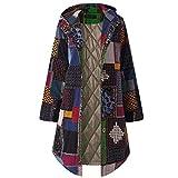 Realdo Women Bohemian Coat, Womens Plus Size Vintage Fleece Thicken Hoodie Button Long Parka Navy
