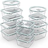 Razab 24 Piece Glass Food Storage Containers w/Airtight Lids - Microwave/Oven/Freezer & Dishwasher Safe - Steam Release Valve BPA/ PVC Free -Small & Large Reusable Round, Square & Rectangle Containers