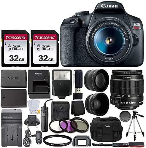 Canon EOS Rebel T7 Digital SLR Camera with EF-S 18-55mm f/3.5-5.6 is STM Lens + 64GB Memory Card + Wide Angle and Telephoto Lens + Video Tripod + Extra Battery and Charger + Remote + Slave Flash