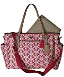 COACH Peyton Dream C Multifunction Baby Diaper Tote in Silver / White Pomegranate / Tan 30541