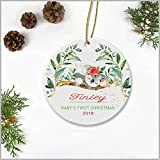 Baby's First Christmas Ornament 2019 - Christmas Ornament With Name Finley - Christmas Tree Ornament Ceramic 3'