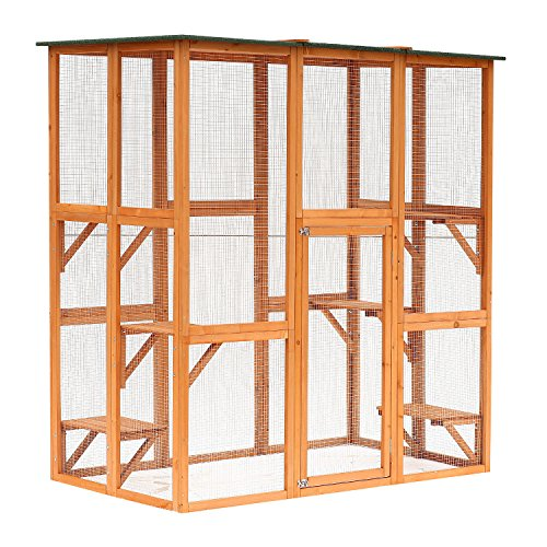 PawHut 71' x 39' x 71' Large Wooden Outdoor Cat Enclosure Catio Cage with 6 Platforms
