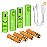 USB Rechargeable Batteries,1000mAH AA Batteries and AAA Batteries 450mAh High-Capacity Batteries Long-Lasting Power Recyclable Recharge Battery(8 Pack