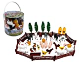 SCS Direct Farm Animal Toys Action Figures 50 Pc Playset - Big Bucket of Farm Animals and Accessories