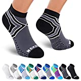 NEWZILL Low Cut Compression Socks - Unisex Running Socks with Embedded Frequency Technology for Heel, Ankle & Arch Support (Medium, Black/Grey)