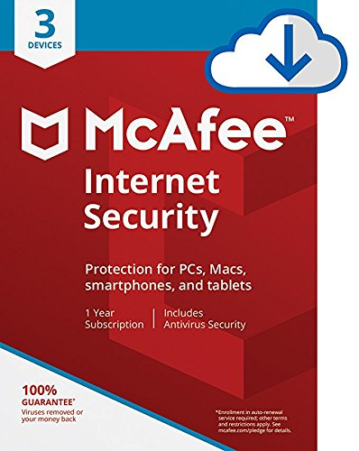 McAfee Internet Security Antivirus  3 Device 1Year Subscription  PC/Mac Download  2019 Ready