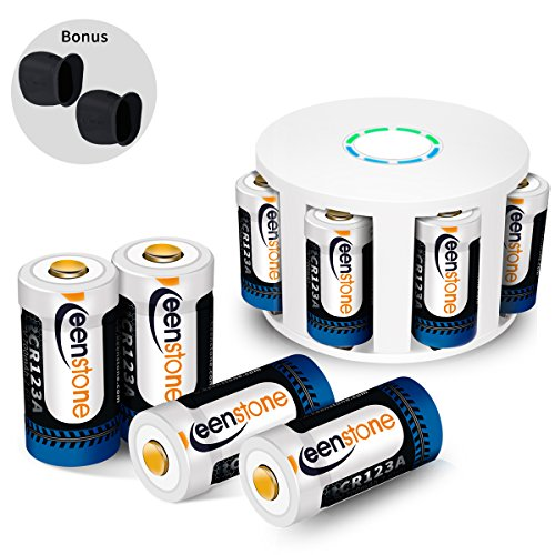 RCR123A Rechargeable Batteries and Charger, Keenstone 8Pcs 3.7V 700mAh Li-ion Battery w/ 8-Ports Charger and Camera Skin for Arlo VMS3030/3230/3330/3430/3530 Security Cameras
