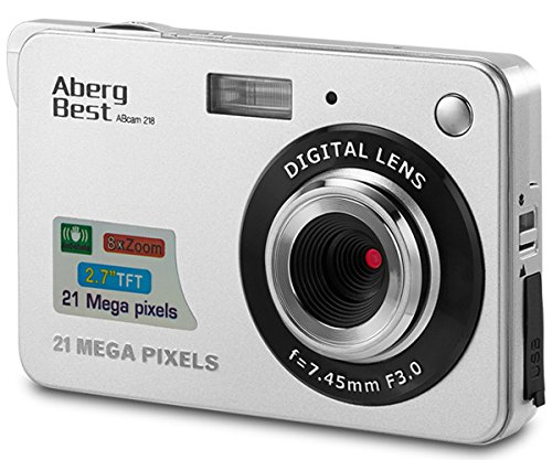 AbergBest 21 Mega Pixels 2.7' LCD Rechargeable HD Digital Camera Video Camera Digital Students Cameras,Indoor Outdoor for Adult/Seniors/Kid (Silver)