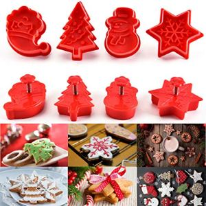 Luccase 4 Pcs Christmas Cookie Stampers Spring Plunger Cutter Mould Reusable Double-Sided Fondant Cake Mold Bake Set – Santa Claus Snowflake Xmas Tree Snowman Mould 51ISa0365kL
