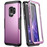 Galaxy S9 Case, YOUMAKER Metallic Purple with Built-in Screen Protector Heavy Duty Protection Shockproof Slim Fit Full Body Case Cover for Samsung Galaxy S9 5.8 inch (2018) - Purple/Black