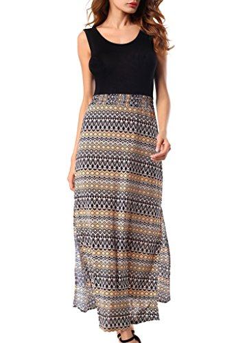 Costyleen Women's Sleeveless Bohemian Beach Tank Top Casual Maxi Long Dress