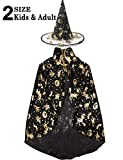 Halloween Costume Women Girls Boys 2 Pack Witch Wizard Cape Role Play Costume Dress Up Cloak Party Hat Cosplay Set