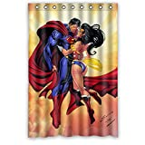 "JIUDUIDDODO Coustom Durable Superman and Wonder Woman Printed Waterproof Polyester Fabric Soft Shower Curtain Size 48""x72"""