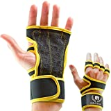 Mava Sports Weightlifting Grips with Integrated Hook and Loop Support for Cross Training WODs, Workouts, Weight Lifting, Powerlifting, Dumbbell, Kettlebell Class, Barbell Workout – Fit Gloves, Pair
