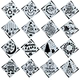 16 Pack Christmas Stencils Journal Stencil Template Set with Santa Claus,Christmas Tree,Snowflakes,Jingling Bell,Snowman,Reindeers Pattern for Card, Wood DIY Drawing Painting Craft Projects