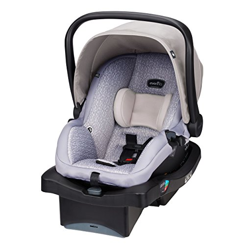 Evenflo LiteMax 35 Infant Car Seat, Easy to Install, Versatile & Convenient, Meets or Exceeds All Federal Safety Standards, Machine-Washable Pads, Full-Coverage Canopy, Riverstone Gray