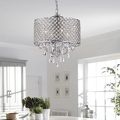 Edvivi Marya 4-Light Chrome Round Crystal Chandelier Ceiling Fixture | Beaded Drum Shade | Glam Lighting 2