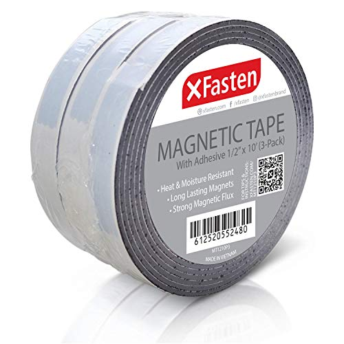 XFasten Flexible Strong Self Adhesive Magnetic Tape Roll, 1/2-Inch x 10-Foot, Pack of 3, Stick on Magnetic Strips with Adhesive Backing