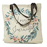 ReLIVE Decorative Expressions - 18x18 Canvas Reusable Tote Bag - Floral - Love the Journey