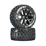 Duratrax DTXC3560 Six Pack RC Staduim Truck Tires with Foam Inserts, C2 Soft Compound, ST 2.8' Mounted on Back Black Wheels (2 Tires)