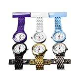 Product review of NURWAT Stainless Steel Nurse Doctor Medical Brooch Quartz Fob Pin-on Pocket Watch Purple/White/Blue/Black/Gold/Silver Good for Man and Women (Pack of 6)