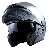 1Storm Motorcycle Modular Full Face Helmet Flip up Dual Visor Sun Shield: HB89 Carbon Fiber Black Size M (55-56 CM,21.7/22.0 Inch)