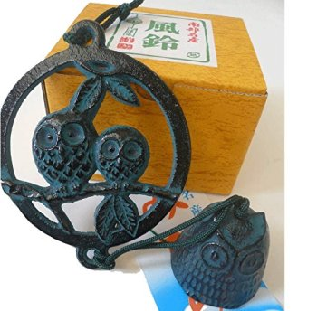 Japanese Furin Wind Chime Nanbu Bell Iron Iwachu Green Owl Perch, Made in Japan