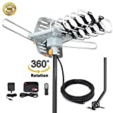 2019 Version HDTV Antenna Amplified Digital Outdoor Antenna -150 Miles Range-360 Degree Rotation Wireless Remote-Snap- Wireless Remote Control - UHF/VHF 4K 1080P Channels- On Installation Support 2 TV