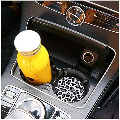 Car Coasters for Drinks Absorbent, Cute Car Coasters for Women, ar Cup Holder Coasters for Your Car with Fingertip Grip, Auto Accessories for Women & Lady,Pack of 2 (Snow Leopard) 11
