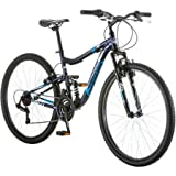 "27.5"" Mongoose Ledge 2.1 Men's Bike for a Path, Trail & Mountains, Deep Navy, Aluminum Full Suspension Frame, Twist Shifters Through 21 Speeds"