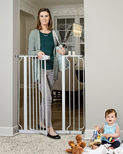 Regalo Easy Step Extra Tall Walk Thru Gate, Bonus Kit, Includes 6-Inch Extension Kit, 4 Pack of Pressure Mount Kit and 4 Pack of Wall Mount Kit