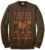 Threadrock Men's Thanksgiving Ugly Sweater Sweatshirt XL Brown