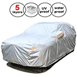SEAZEN Car Cover Waterproof All Weather,Full car Covers UV Protection/Snowproof/Dustproof,Universal car Cover 5 Layer Breathable Fabric with Cotton(193' L x 76' W x 59' H, SUV)