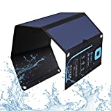 BigBlue 5V 28W Solar Charger with Digital Ammeter Waterproof Foldable Dual USB Ports Solar Battery Charger for iPhone 8/X/7/6s, iPad Pro/Air 2/Mini, Galaxy S8/S7/S6/Edge/Plus, LG, Nexus, HTC