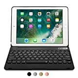 COOPER KAI SKEL Q0 Keyboard case compatible with iPad Pro 9.7, iPad Air 2 | Bluetooth Wireless Clamshell Cover with Keyboard | 60HR Battery, 14 Shortcut Button | Apple A1673 A1674 A1566 A1567 (Silver)