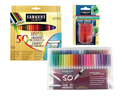 Sargent Art 22-0083 Draw & Color Art Set with Bonus Pencil Sharpener 101 Pc Colored Pencils, Markers, Sharpener