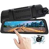 Mirror Dash Cam Backup Camera 9.88' Full HD Touch Screen Car Dash Camera Stream Media Dual Lens 170° 1080P Front and 150°1080P Rear View Camera with G-Sensor PORMIDO,24 Hour Parking,GPS