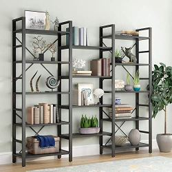 Tribesigns Triple Wide 5-Shelf Bookcase, Etagere Large Open Bookshelf Vintage Industrial Style Shelves Wood and Metal bookcases Furniture for Home & Office , All Black