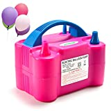 AGPTEK Electric Air Balloon Pump, 110V 600W Rose Red Portable Dual Nozzle Inflator/Blower for Party Decoration, 20 x 15 x 12 (cm),