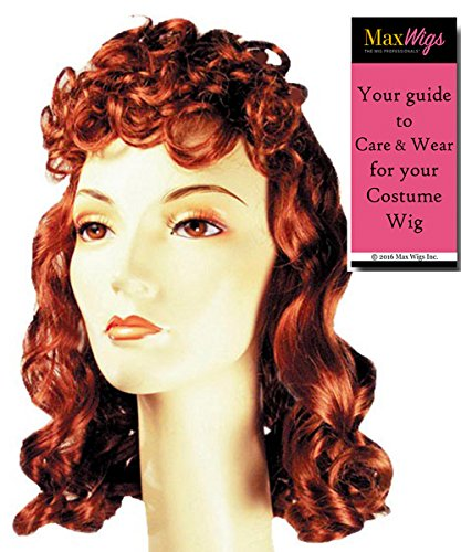 Movie Queen 1940s Color Auburn - Lacey Wigs Women's Stanwyck Bette Davis Bergman Curly Bundle with MaxWigs Costume Wig Care Guide