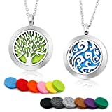 """RoyAroma 2PCS Aromatherapy Essential Oil Diffuser Necklace Two Patterns Pendant Locket Jewelry,23.6""""Adjustable Chain Stainless Steel Perfume Necklace"""