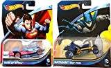 SuperBat - Batman Vs Superman Car Set - Hot Wheels Batbmobile Hot Rod & Man of Steel Character Cars from DC Universe 2015 Super Heroes