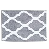 Pauwer Microfiber Bathroom Rugs Geometric, Non Slip Bath Rugs Floor Mat Machine Washable (18'x26', Grey)
