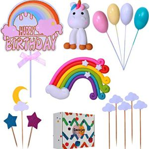 Decojoy Unicorn Rainbow Cake Topper Set, Reusable Unicorn Figurine and Colorful Rainbow Dash, With Glitter Birthday Banner for Girl, Gift Box Packing for Your Kids Party 51Ixl1w6J0L