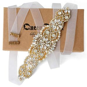 Bridal Gold Rhinestone Wedding Belts White Organza Sash Belt Hand Clear Crystal for Bridal Gowns 51Iy2QcdQnL