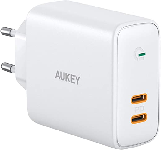 AUKEY USB C Chargeur Secteur avec Dynamic Detect, Chargeur Secteur USB avec Power Delivery 36W, USB Chargeur Mural pour iPhone 12/12 Pro / 12 Pro Max, MacBook Air, iPad, Airpods Pro, Xiaomi, Huawei