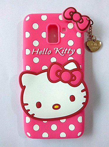 Explocart Hello Kitty Cute Silicone with Pendant Back Cover for Samsung Galaxy A6 - (Pink) 7