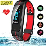 SKYGRAND Updated 2019 Version Fitness Tracker HR, Activity Trackers Health Exercise Watch with Heart Rate Blood Pressure Sleep Monitor, Smart Band Calorie Step Counter, Pedometer Walking (Black-Red)