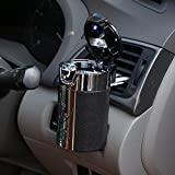Geekercity Car Cigarette Ashtray Portable Auto Smokeless Tobacco Tray with Car Travel LED Blue Light Air Vent Cup Holder (Black)