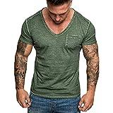 Fashion Men's Summer Slim Casual Pocket V-Neck Fit Short Sleeve Top Blouse